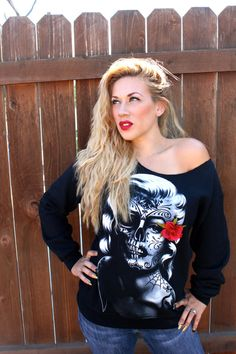 ~~ Marilyn Monroe/ Day of the Dead Sweatshirt~~ Black thick cotton sweatshirt with screen print of Marilyn - 3D vintage rose. A Must Have!