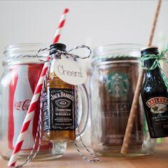 DIY Mason Jar Mini  Liquor Bottle Mugs
