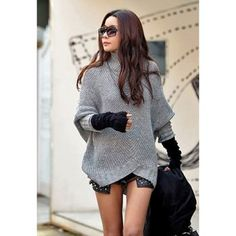 $12.36 Slim Fit Stand Collar Stripes Batwing Sleeve Women's Sweater