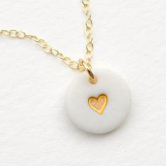 tiny porcelain necklace, white porcelain heart necklace, tiny heart with love Porcelain Jewelry, Ceramic Jewelry, Resin Jewelry, Jewelry Crafts, Porcelain Clay, White Porcelain, Jewellery, Polymer Clay Charms, Polymer Clay Earrings