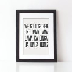 Black and White Print We Go Together Grease Song by SweetlovePress