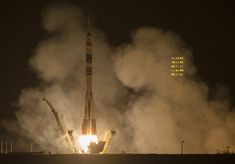 The Soyuz TMA-14M rocket is launched with Expedition 41 Soyuz Commander Alexander Samokutyaev of the Russian Federal Space Agency (Roscosmos) Flight Engineer Elena Serova of Roscosmos, and Flight Engineer Barry Wilmore of NASA, Friday, Sept. 26, 2014 at the Baikonur Cosmodrome in Kazakhstan.