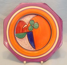 Rare purple banded Melon plate Susie Cooper, Purple Band, Clarice Cliff, Art Deco Period, Ceramic Artists, Plate, Pottery, Joy, Ceramica
