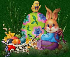 Happy Easter Gif, Easter Bunny Pictures, Just Magic, Christmas Holidays, Christmas Ornaments, Vintage Easter, Yard Art, Pet Birds, Holiday Decor