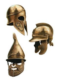 Greek Bronze Helmets Three different greek Hoplite Helmets: Corinthian (ran symbol of zeus), Thracian (panhellenic sun) and Phrygian (Up to down)