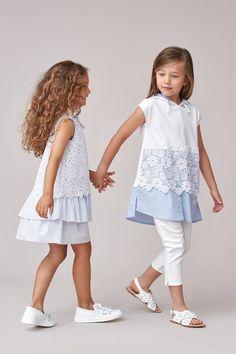 Poplin dress with ruffles Fashion for girls Little Dresses, Little Girl Dresses, Girls Dresses, Baby Girl Fashion, Kids Fashion, Latest Fashion, Baby Dress, The Dress, Poplin Dress