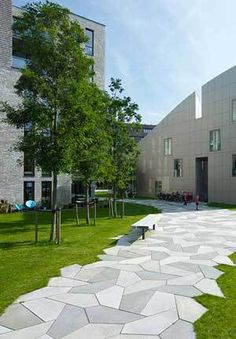 Landscape architects in Europe are doing really innovative things with pavers, perhaps more so than in the United States. Some recent contemporary urban plaza projects from Amsterdam, Copenhagen, a… Travertine Pavers, Concrete Paving, Paving Stones, Landscape Architecture, Landscape Design, Garden Design, Tree Grate, Pavement Design, Plaza Design