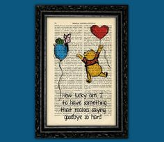 Winnie the Pooh Piglet How Lucky Art Print - E H Shepard Art Quotes Original Disney Poster Dorm Room Print Gift Wall Decor Dictionary Winnie The Pooh Nursery, Winnie The Pooh Quotes, Disney Winnie The Pooh, Piglet, Pooh Bear, Lucky Art, Disney Poster, Harry Pottertattoo, Nursery Wallpaper