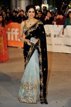 Wow, a black velvet sari? Sridevi in Sabyasachi Mukherjee - Lace Tulle & Black Velvet Saree Bollywood Mode, Bollywood Fashion, Bollywood Saree, Bollywood Wedding, Bollywood Actress, Indian Attire, Indian Wear, Indian Style, India Fashion