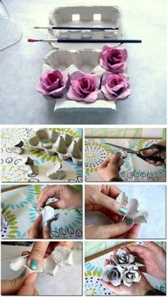 Pink rose from egg carton Recycled Crafts, Handmade Crafts, Diy And Crafts, Crafts For Kids, Flower Crafts, Diy Flowers, Egg Box Craft, Homemade Bows, Egg Carton Crafts