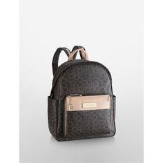 Calvin Klein Women's Jordan Logo Utility Backpack ($90) ❤ liked on Polyvore featuring bags, backpacks, brown, pocket backpack, logo backpacks, knapsack bags, backpack bag and calvin klein backpack