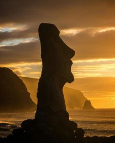 """I shot this handsome profile of a Moai. Just after viewing sunrise at the """"famous fifteen"""" statues at Tongariki on the remote Easter Island, Chile. This Moai sits just up the hill from the lorger Ahu (platform) // photo by Jonathan Irish"""