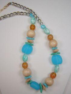 2 Czech Glass Wood Bead 2 Necklaces Bohemian Blue Aqua & Pale Green NEW  #ClassicoCollectionNYC