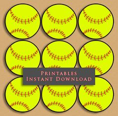 2.5 Softball Printable Cupcake Toppers Sports by JannaSalakDesigns