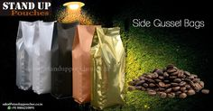 We offer #sidegussetbags in various #sizes, #shapes, #colors and #categories. use #coffee #tea #food  One side of the pouch remains open allowing for easy #filling and #sealing. #stock and #custom pouches. more visit whatsp ( +91 8866210891)
