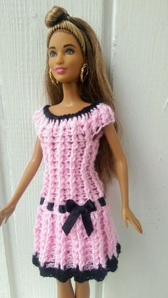 Items similar to Barbie clothes Barbie Crochet Dress for Barbie Doll on Etsy Barbie clothes Barbie Crochet Dress for Barbie Doll image 5 Crochet Barbie Patterns, Crochet Doll Dress, Barbie Clothes Patterns, Crochet Barbie Clothes, Doll Clothes Barbie, Doll Dress Patterns, Clothing Patterns, Crochet Pattern, Dress Barbie