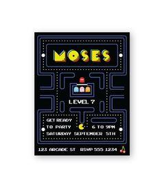 Retro Pac-Man Party Theme Invitations