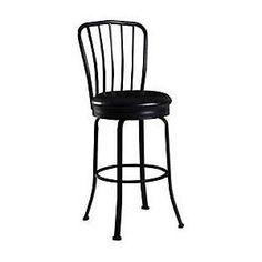 Linon Windsor 30'' Swivel Bar Stool with Cushion, Black