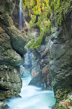 Mostnica Gorge, Slovenia. Mostnica gorge is the most spectacular of the many gorges in Bohinj. It is an easy 1-2 hour round trip and is best visited spring to late summer. (V)
