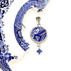Boho Blue Willow Broken China Jewelry Pendant Necklace