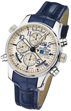 Fortis F-43 Flieger Limited Edition Chronograph Alarm GMT Chronometer C.O.S.C. Dual Power Reserve Watch