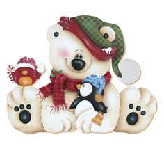 Tole style Christmas teddy bear, penguin, and bird. Christmas Drawing, Christmas Paintings, Christmas Art, Christmas Projects, Christmas Decorations, Christmas Ornaments, Christmas Teddy Bear, Christmas Animals, Christmas Pictures
