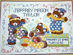 Circus Bears Baby Gift Cross Stitch Kit New Joan Elliott Aida Teddy Bernat Cute