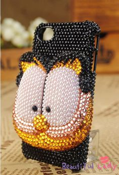 3D Pearl Mix crystal Garfield cat iphone 5 case iphone 4/4s case samsung galaxy s3 case galaxy s4 case galaxy note2 case Blackberry Z10 case