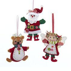 Kurt Adler 55 Fabric Santa Bear  Girl Ornament Set >>> More info could be found at the image url.