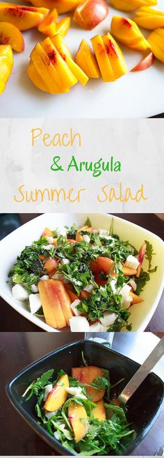 Peach Arugula Salad with fresh mozzarella and basil. Light and healthy fresh salad that's easy to throw together for summer gatherings!