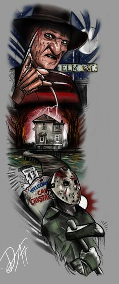 FULLSLEEVE Design - Freddy and Jason by StevenDureckArtworks.deviantart.com on @DeviantArt