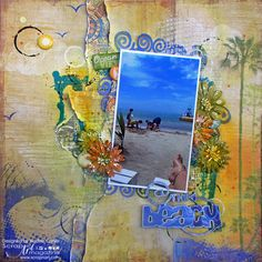 The Beach scrapbook layout using Fancy Pants Designs Beach Bum paper and cut files from The Cut Shoppe by @scrappinready