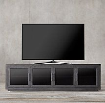 "La Salle Metal-Wrapped 100"" Glass Media Console"