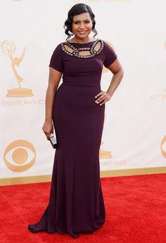 Mindy Kaling @ 2013 Emmys - Dress, Makeup, Hair Photos