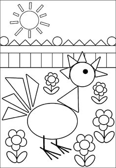 Omaľovánka z geometrických tvarov Kindergarten Coloring Pages, Kindergarten Math Worksheets, Preschool Activities, Art Drawings For Kids, Drawing For Kids, Art For Kids, Teaching Shapes, Shapes For Kids, Shapes Worksheets