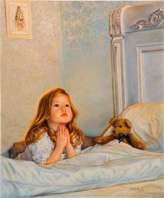 quenalbertini: Bedtime prayers by Sandra Kuck . with a teddy bear Illustrations, Illustration Art, Prayers For Children, Norman Rockwell, Christian Art, Caricatures, Beautiful Paintings, Vintage Images, Painting & Drawing