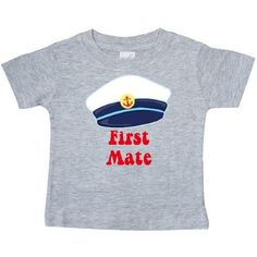 Inktastic First Mate Boy Baby T-Shirt Sailor Anchor Infant T-shirt Tees Shower Gift Clothing Apparel, Size: 6 Months, Grey