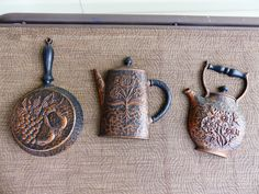 Homco Set of 3 Home Interior Kitchen Wall Plaques Coffee Pot Skillet Tea Kettle