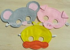2016 new fashion hotsale cheap wholesale China handmade duck/pig/mouse fabric craft kid party decor face felt cartoon mouth mask