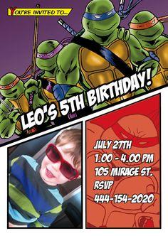 Teenage Mutant Ninja Turtles Party Invitation - TMNT Kids Party - Digital File via Etsy