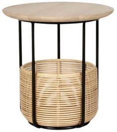 Code : AC002, AC003 Frame : Black powder coated galvanized steel Quality : Rattan | Table top in oak Finish : Natural Oak Varnish (W011) Structure:black powder coated steel with rattan basket and solid oak top. ... Rattan Armchair, Rattan Basket, Galvanized Steel, Solid Oak, Side Tables, Indoor, Ted Mosby, Product Design, Furniture