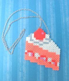 Yummy Kawaii Strawberry perler beads Cake Necklace by MilkshakeTrinkets