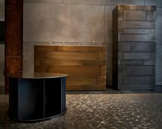 DeCastelli at Salone del Mobile 2013, Milan showroom. Stopped by for their event, was fantastic to see the pieces in person, the hex steel billet mosaic floor was especially impressive! And the Celato dressers clad in plates of acid treated exotic metals - fantastic!