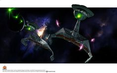 the two Romulan Battlecruisers close in for the kill.the Solaris' photon torpedoes exploding uselessly on their shields. 'closing in for the kill. Klingon Empire, Star Trek Klingon, The Final Frontier, Star Trek Ships, Closer, Sci Fi, Star Wars, Spaceships, Stars