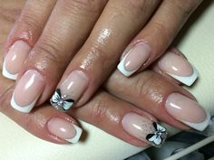 White French White bow Nails