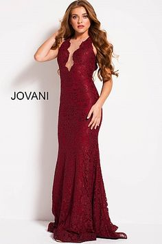 Burgundy Lace Plunging Illusion Neckline Sleeveless Prom Gown 51847