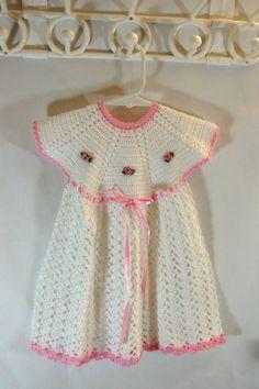Items similar to SALE Handmade Crochet Girl's Dress on Etsy Crochet Bebe, Crochet Girls, Crochet Dresses, Baby Dresses, Girls Dresses, Summer Dresses, Sunday Dress, Month Colors, Baby Boy Romper