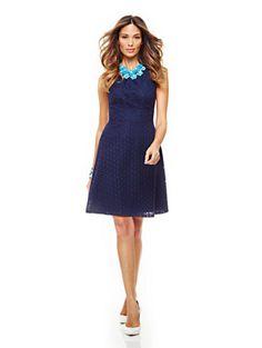 Cotton Eyelet Fit & Flare Halter Dress - New York & Company