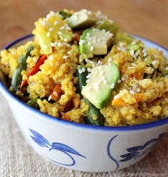 "Quinoa Curry Bowl: This quick and easy dish uses ""stir fry"" frozen vegetables, along with fresh ginger and garlic. Frozen veggies have come a long way, and can be a healthy and delicious meal addition. Look for 100% vegetables without any added salt or oil. (Straight Up Food — Healthy and delicious vegan recipes using no salt, sugar or oil.)"