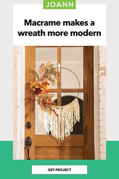 This cute yarn wreath is perfect as wall decor or on your front door. Mix and match your favorite fall floral with a floral hoop as a metal wreath. New to macrame? Chenille yarn works just as well as macrame cord! Fall Projects, Sewing Projects, Fall Door Decorations, Fall Lookbook, Floral Hoops, Macrame Cord, Fall Home Decor, Fall Wreaths, Joanns Fabric And Crafts